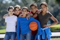Children with a basketball